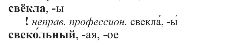 свЁкла или свеклА